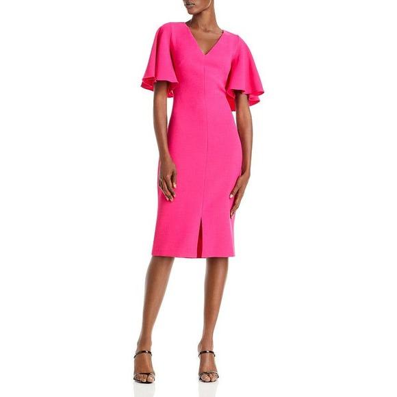 NWT Eliza J Flutter Sleeve Crepe Fuchsia Dress